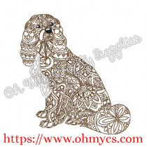 Henna Full Body Cocker Spaniel Embroidery Design