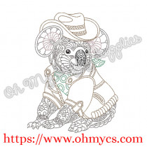 Henna Outback Koala Bear Embroidery Design
