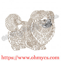 Henna Pekingese Embroidery Design