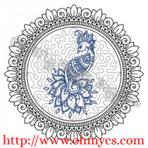 Henna Phoenix with Floral ring 1 Embroidery Design