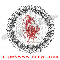 Henna Phoenix Floral Ring 2 Embroidery Design
