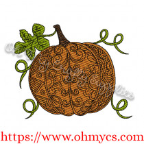 Henna Pumpkin Sketch Embroidery Design
