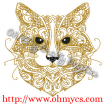 Henna Cat Embroidery Design
