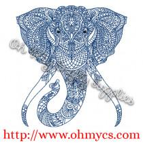 Henna Elephant Embroidery Design
