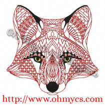 Henna Fox Embroidery Design