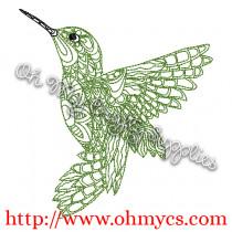 Henna Hummingbird Embroidery Design