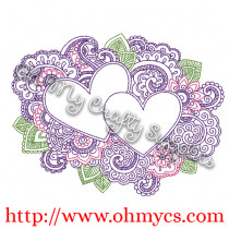 Henna Hearts Embroidery Design