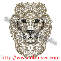 Henna Lion Embroidery Design