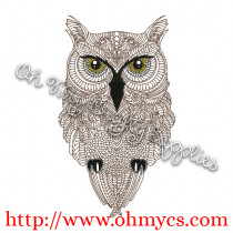 Henna Owl Embroidery Design