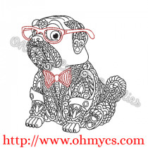 Henna Pug w Glasses and Bowtie Embroidery Design