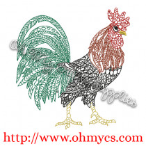 Henna Rooster Embroidery Design