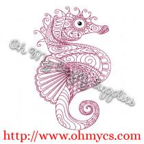 Henna Sea Horse Embroidery Design