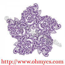 Henna Star Pattern Embroidery Design