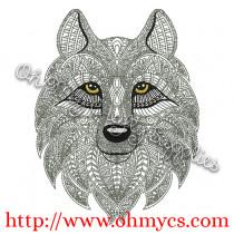 Henna Wolf Embroidery Design