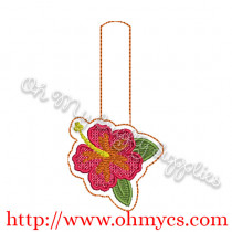 ITH Hibiscus Key Fob Embroidery Design