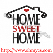 Home Sweet Home House w/Heart Embroidery Design