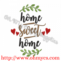 Home Sweet Home with Hearts Embroidery Design