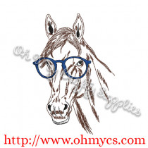 Horse Sketch with Glasses Embroidery Design
