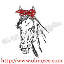 Sketch Horse with Headband Embroidery Design