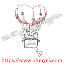 Hot Air Balloon Couple Embroidery Design