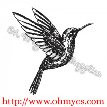 Sketch Hummingbird Flying Embroidery Design
