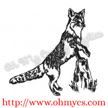 Hunting Fox on Log Embroidery Design