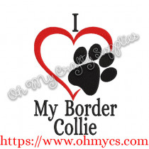 I Heart My Border Collie Embroidery Design