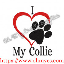 I Heart My Collie Embroidery Design