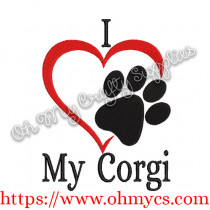 I Heart My Corgi Embroidery Design