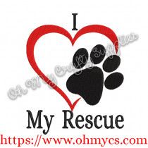I Heart My Rescue Embroidery Design