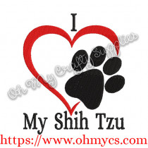 I Heart My Shih Tzu Embroidery Design
