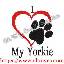 I Heart My Yorkie Embroidery Design
