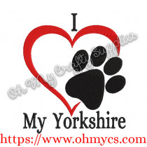 I Heart MY Yorkshire Embroidery Design