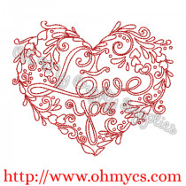 I Love You Henna Heart Embroidery Design