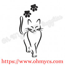 Kitty Outline Embroidery Design Set of 2