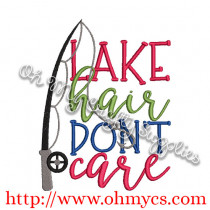 Lake Hair Don't Care Embroidery Design