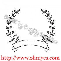 Leaf Monogram Frame Embroidery Design