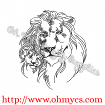 Lion and Cub Sketch Embroidery Design