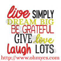 Live Simply Dream Big Embroidery Design