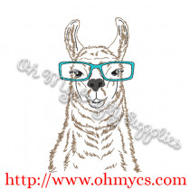 Llama Sketch with Glasses Embroidery Design