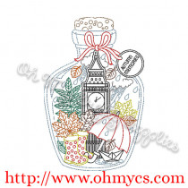 London Big Ben Bottle Embroidery Design