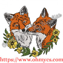 Lovely Foxes Embroidery Design