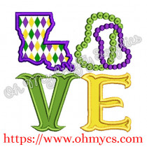 Mardi Gras Love Applique Design