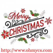 Merry Christmas Holly Swirls Embroidery Design