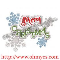 Merry Christmas Snowflake Applique Design
