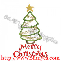 Merry Christmas w Tree Embroidery Design