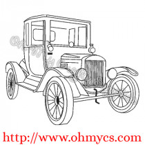 Vintage Model T Car  Sketch Embroidery Design