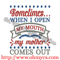 Mother Comes out Embroidery Design