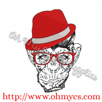 Monkey in Hat Embroidery Design