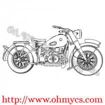 Vintage Motorcycle Bike Embroidery Design